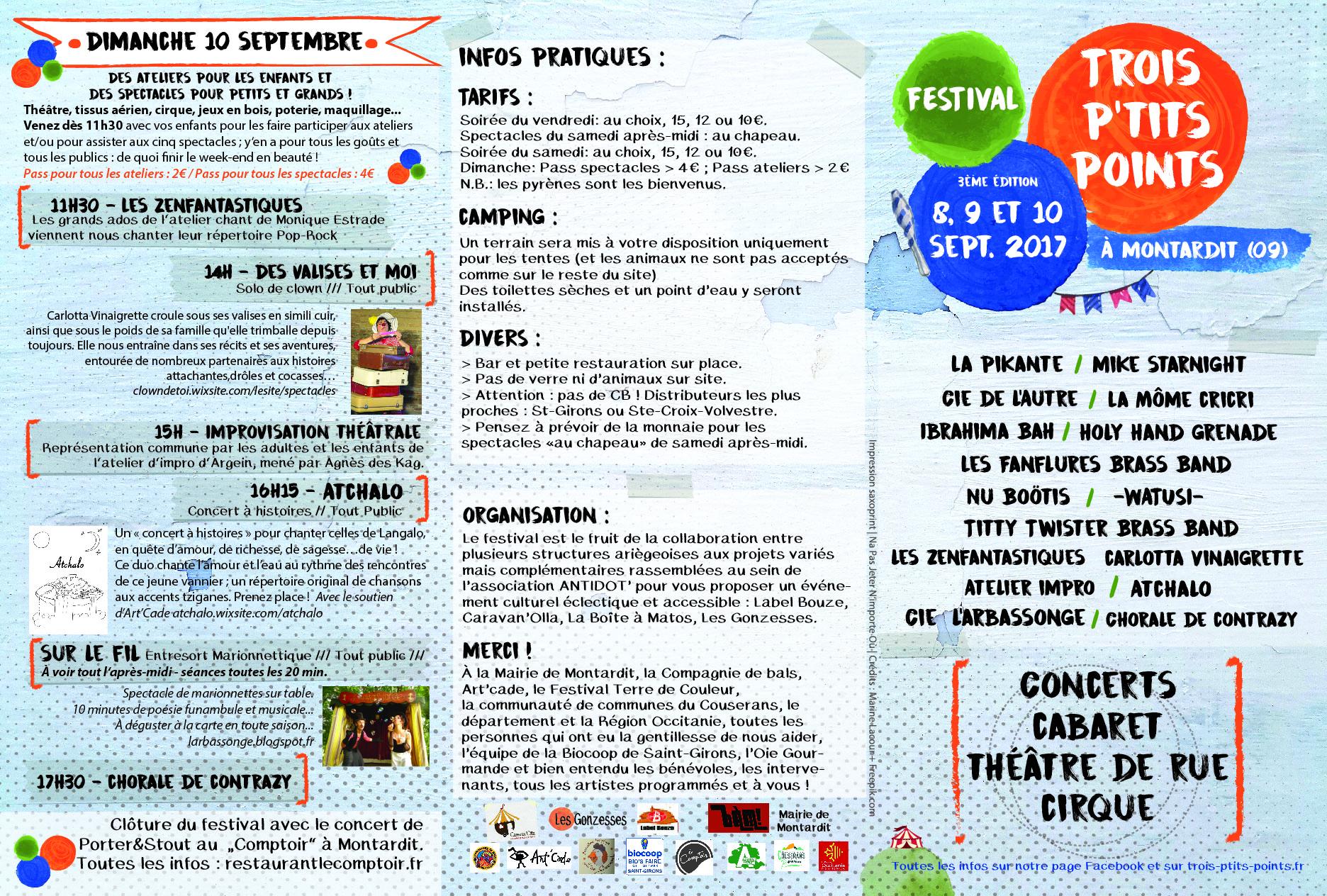 Programmation du festival Trois P'tits Points les 8, 9 et 10 septembre 2017 à Montardit