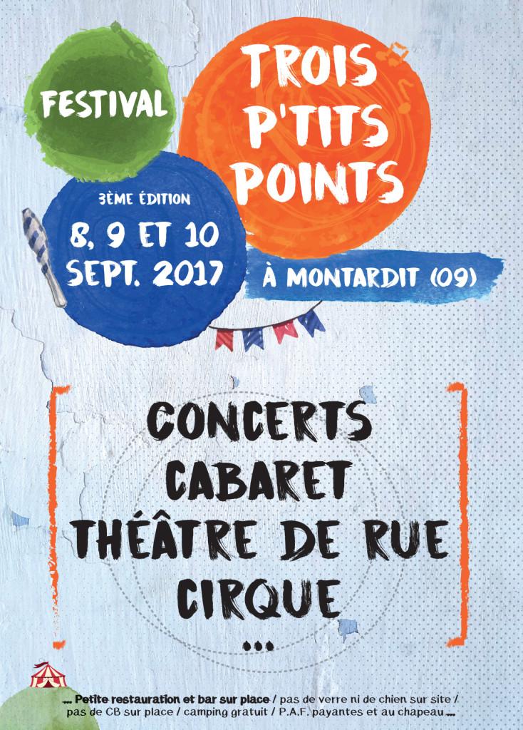 Festival Trois P'tits Points édition 207 les 8, 9 et 10 septembre à Montardit (09)