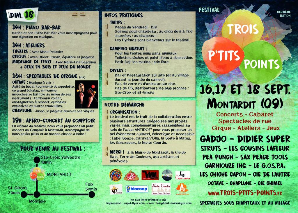 Festival Trois P'tits Points 2016 à Montardit en Ariège les 16, 17 et 18 septembre