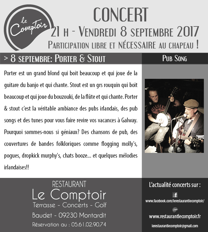 PORTER&STOUT le dimanche 10 septembre 2017 à Montardit au Comptoir après le festival Trois P'tits Points
